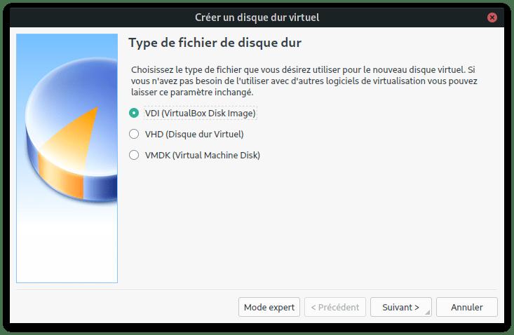 type de disque dur VDI