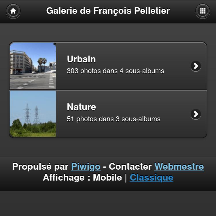 Capture d'écran de la galerie photo de François Pelletier